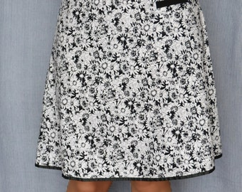 Aline summer floral skirt black and white