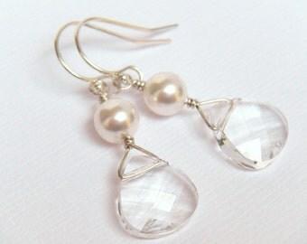 Crystal Earrings, Silver Earrings, Pearl Earrings, Bridal Earrings, Bridal Party Gifts, White Pearl Earrings, Ivory Pearl - Elizabeta