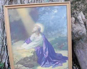 Jesus Framed Mid Century Guilded Frame Large Print