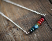 Rainbow colored shiny indian agate necklace