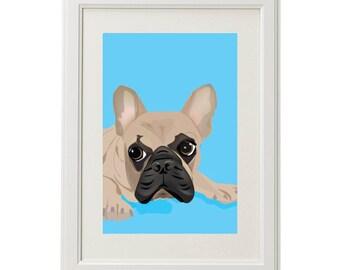 French Bulldog dog pet custom illustration print 8x10