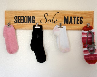 Seeking Sole Mates Laundry Sock Holder board hand-made plaque and clips attached - custom colors and sayings