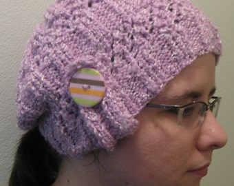 Light & Lacey Lilac Beanie with Button Tab
