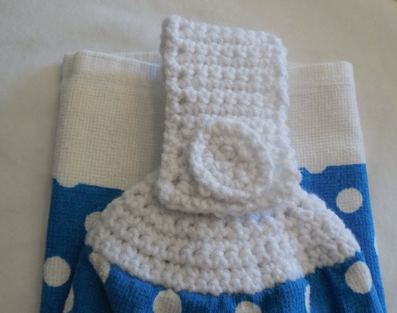 Crochet Patterns Kitchen Towels : Hanging Crochet Top Kitchen Towel Blue with by ShelleysCrochetOle