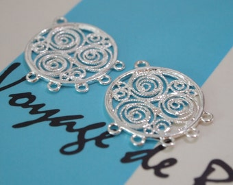 1 Pair, Chandelier, Connector, Sterling Silver Chandelier or Connector, 5-loop Filigree Chandelier or Connector, DIY Jewelry Supplies