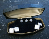 Vintage Art Deco Cuff Link and Stud Tuxedo set in original box - mother of pearl - very Downton Abbey