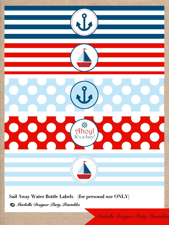 Nautical Diy Printable Water Bottle Labels By Marbella