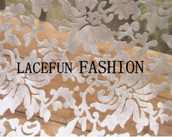 sale off White Embroidered Organza Lace Fabric, retro floral lace, embroidered organza lace fabric