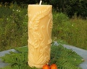 Beeswax Pillar Candle, Fern Motif,  all natural beeswax ~ burns 55+ hours ~ Elegant & Wild