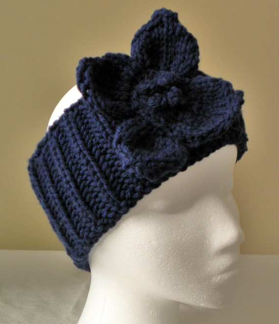 Knit Headband Pattern With Crochet Flower : KNIT HEADBAND PATTERN with knitted flower by PrimrosePatterns
