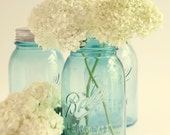 Dreamy Hydrangea Photograph - Home Decor - Warm - Vintage -  Wall Art - Mason Jars - Country