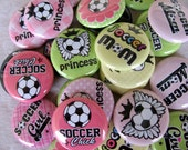 20 Girl's Soccer Flatback Buttons - 20  One Inch Assorted Flatback Buttons - Girl's Soccer Team, Girl's Soccer Party
