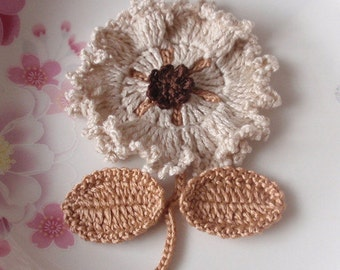 Crochet Flower With Leaves In Cream, Latte, Brown YH-092-03