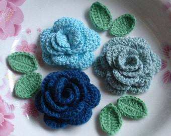 3 Crochet  Flowers (Roses) With Leaves YH - 153-11