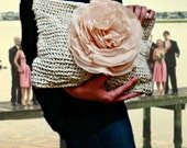 Wedding Bridal Clutch, Oversized Champagne Ivory Chiffon Huge Flower