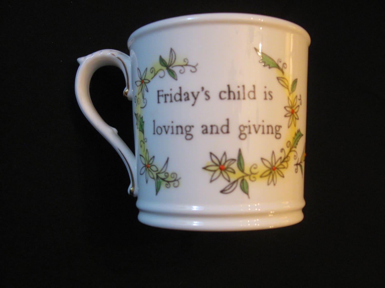 Royal Worcester China Fridays Child Girl Birthday Mug