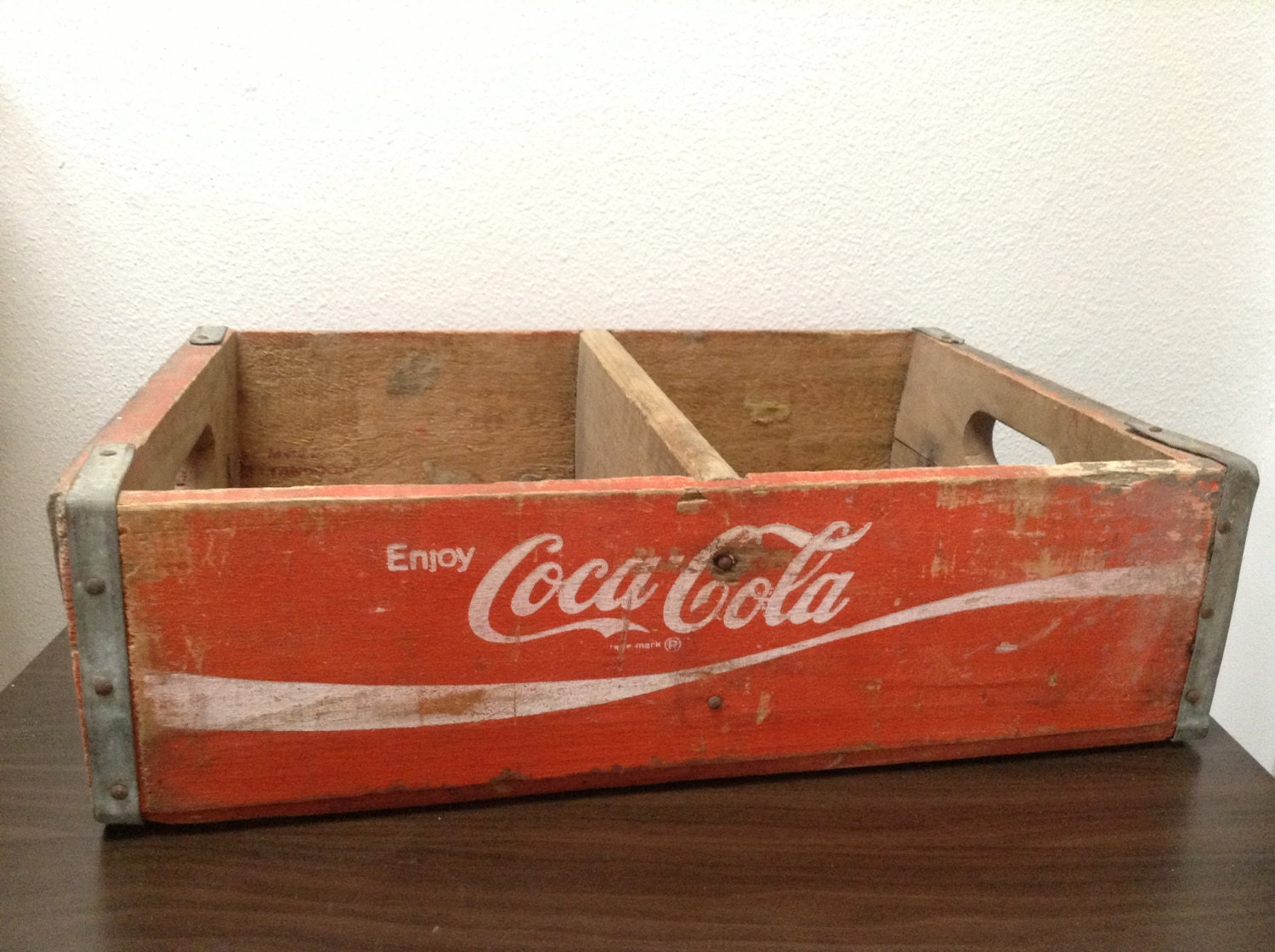 Vintage coca cola crate red wooden large for Wooden soda crate ideas