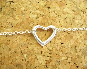 Sterling Silver Heart Necklace - Sweethearts Open Heart Sterling Silver Charm on a Sterling Silver Chain