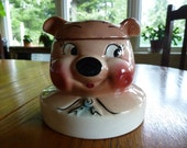 Vintage and Collectible DeForest Hand Painted Pig Jar