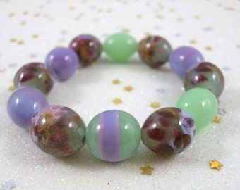 Purple and green Spring colors Lampwork beads