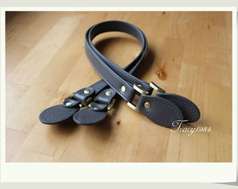 61cm or 24 inch Gray Synthetic Leather Purse Straps, 1 pair