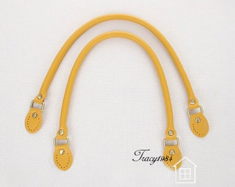 1 pair of 22.5 inch Yellow Synthetic Leather Bag Handles Y011