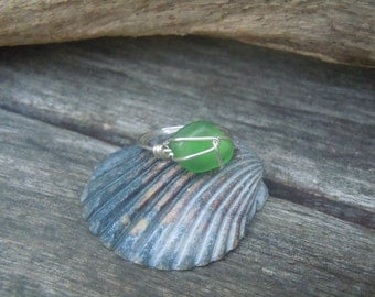 Handmade Genuine Green Beach Glass Wire Wrapped Ring Size 7