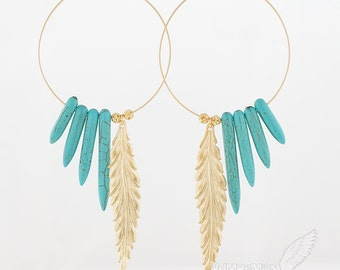 """Native Inspired// Large Hoops with Blue Turquoise Spike Horn, Statement Long Feather and Beads, 4.25"""" Earrings"""
