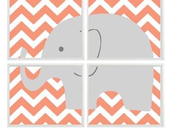 Elephant Nursery Art Print    - Chevron Orange Gray Decor - Children Kid Baby Boy Room - Wall Art Home Decor