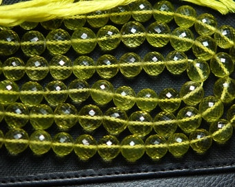 7 Inch Strand,Finest Quality,Lemon QUARTZ Micro Faceted Round Balls Beads,6-7 mm size