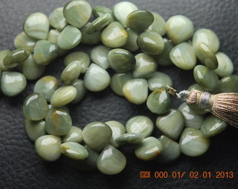 100 Carats, 8 Inch Strand,Super Finest,GREEN Cats-eye Smooth Heart Shape Briolette,7-14mm