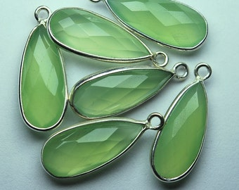 925 Sterling Silver PREHNITE Chalcedony Faceted Pear Shape Pendant,2 Piece of 23mm