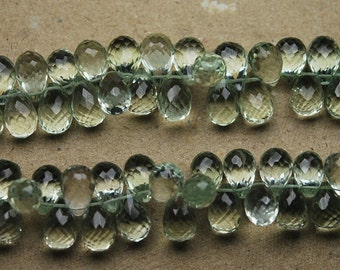 174 Carats,8 Inch Strand, AAA Quality Green Amethyst Faceted Drops Shape Briolettes, 11-9mm Long,Great Quality