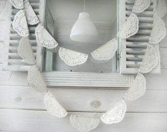 Wedding  Garland -  Lace Bunting Pennant Banner - Wedding Doily Paper Garland -Romantic Weddings- lace bunting  -wedding decor- 80 inch