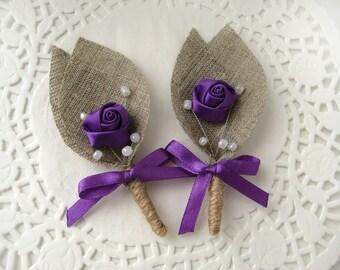 Set of 2- Purple Flower burlap Boutonniere (buttonhole)