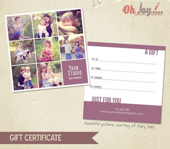 instant download photography gift certificate photoshop. Black Bedroom Furniture Sets. Home Design Ideas