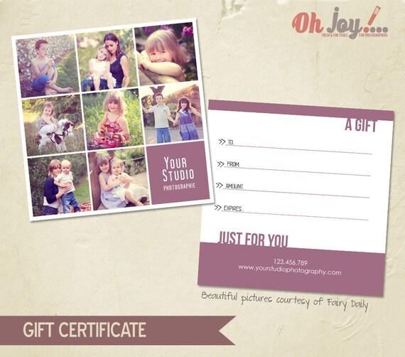 instant download photography gift certificate photoshop. Black Bedroom Furniture Sets. Home Design Ideas