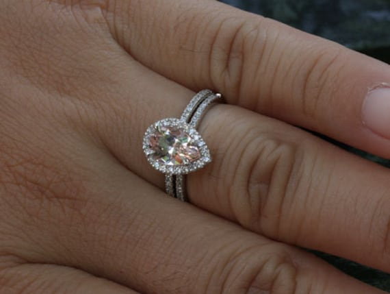 Pear Morganite Engagement Ring Morganite Wedding Ring Set In
