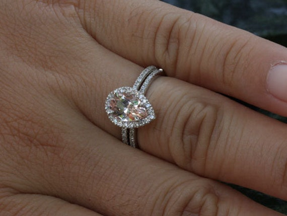 split rings diamond engagement halo shank ring pear vintage wedding