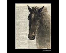 Vintage Dictionary Art Print - HORSE - Dictionary Page - Book Art Print No. P94