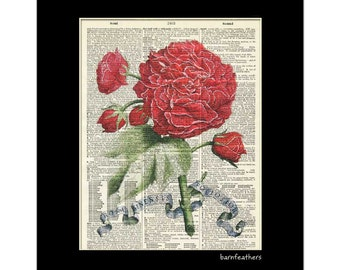 Vintage Dictionary Art Print - Red Roses - Gardening - Dictionary Page - Book Art Print  - Home Decor No. P145