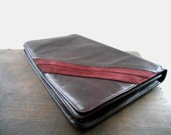 Vintage burgundy leather clutch Jubella leather handbag Vintage clutch 70s bag Gift for her Vintage accessories