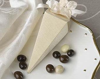 12 Beige Cone Wedding Favor Box