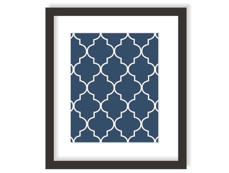 Moroccan art print in navy blue modern nursery decor dining for Etsy dining room wall art