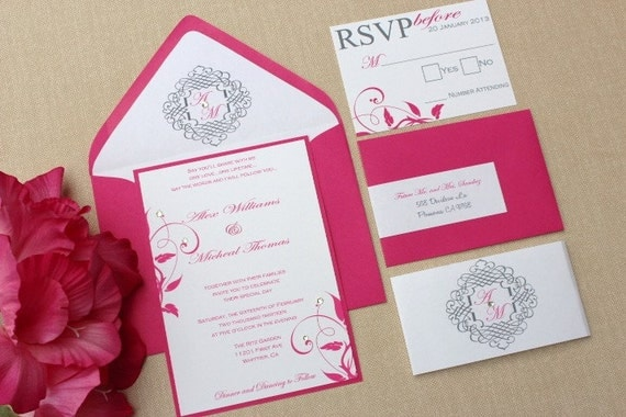 Bling Wedding Invitations: Wedding Invitations Hot Pink And BLING By AlexandriaLindo