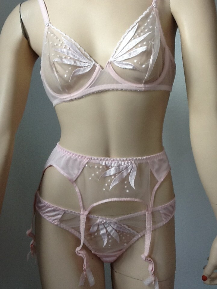 Vintage 70 S Sexy Sheer Bra Panty And Garter Set Pastel
