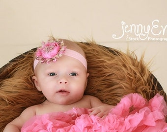 Pink Poppy Shabby Chic Headband..Newborn Headband..Baby Girl Headband..Headband..Infant Headband..Baby Headband.Flower Headband