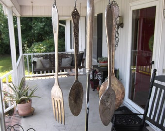Upcycled Vintage Silverware Wind Chimes Outdoor Decor