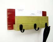 Mail Organizer - Mail Holder - Key Hooks - Letter Holder - Distressed Wood - Cottage Shabby Chic Decor- Red & Avocado Green