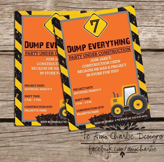 Construction Birthday Party Invitations Boy By PalmBeachPrints